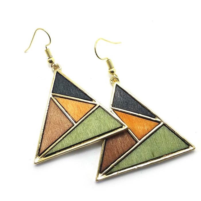 Stained Wood Geometric Triangle Golden Drop Earrings