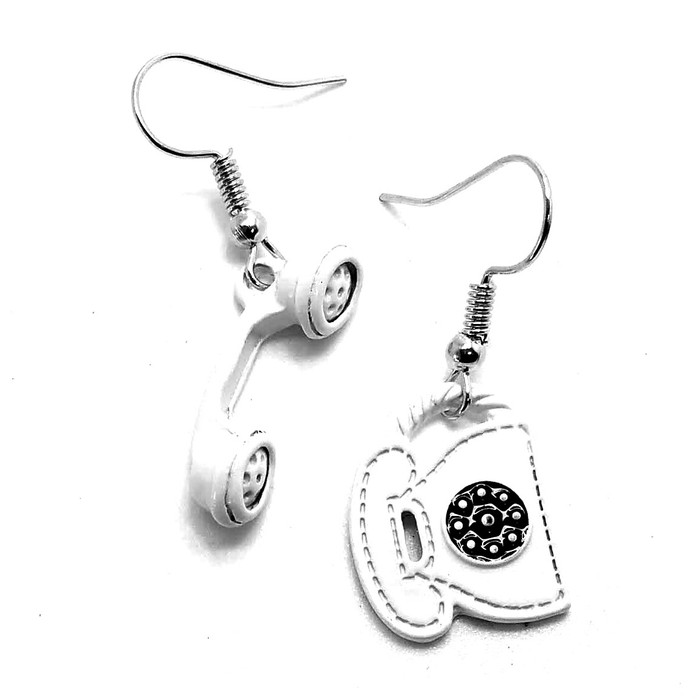 White Telephone and Receiver Mismatched Drop Earrings