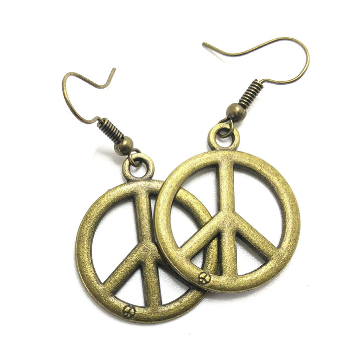 Antiqued Golden Peace Sign Drop Earrings (sm)