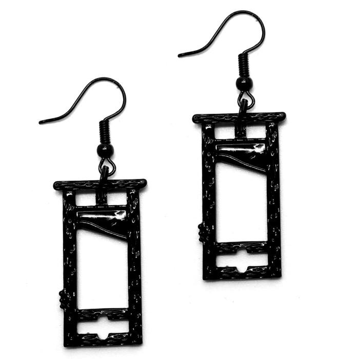 Black Guillotine Drop Earrings