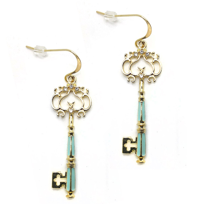 Bejeweled and Enameled Golden Key Drop Earrings