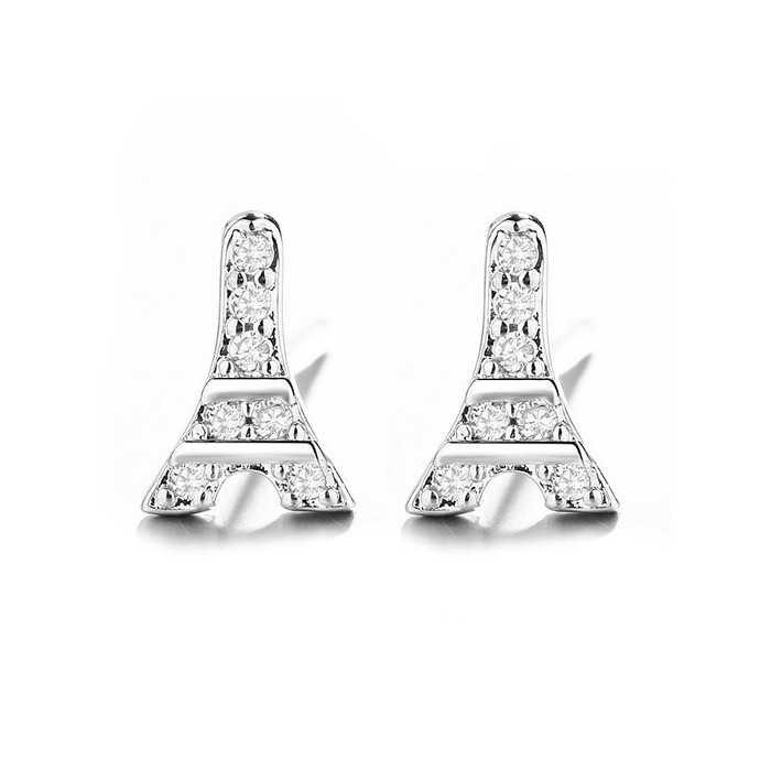 Tiny Bejeweled Silver Eiffel Tower Post Earrings