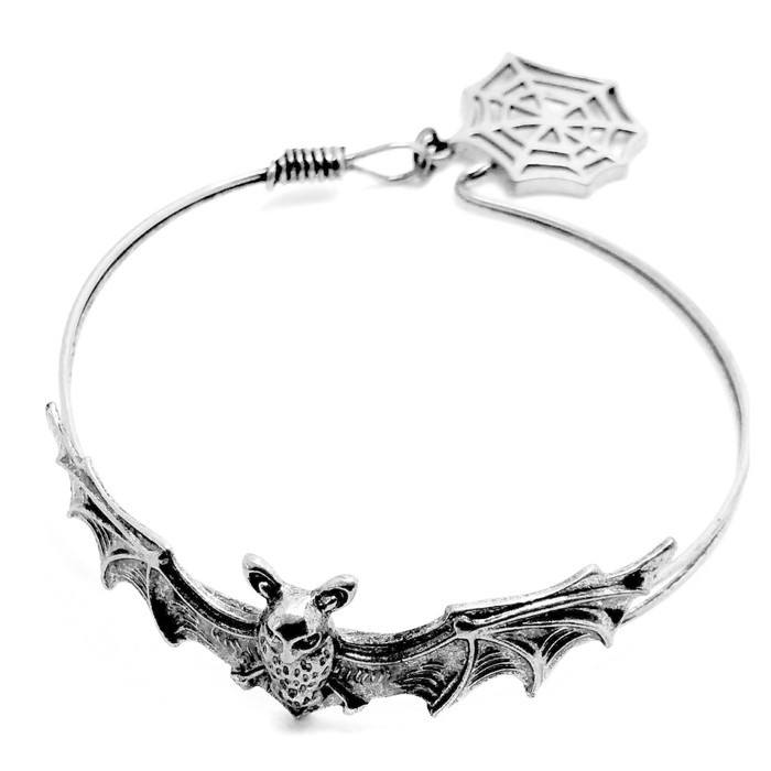 Antiqued Silver Bat Bangle with Spiderweb Charm