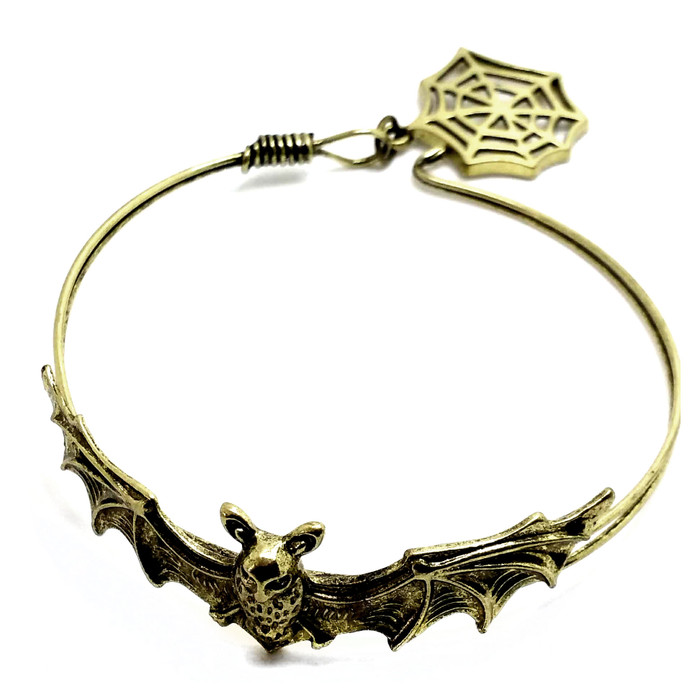 Antiqued Gold Bat Bangle with Spiderweb Charm