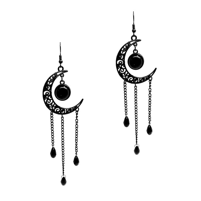 Long Black Steel Filigree Moon Chandelier Drop Earrings