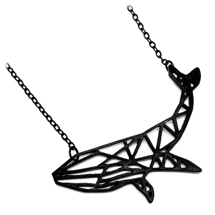 Black Origami Whale Outline Necklace