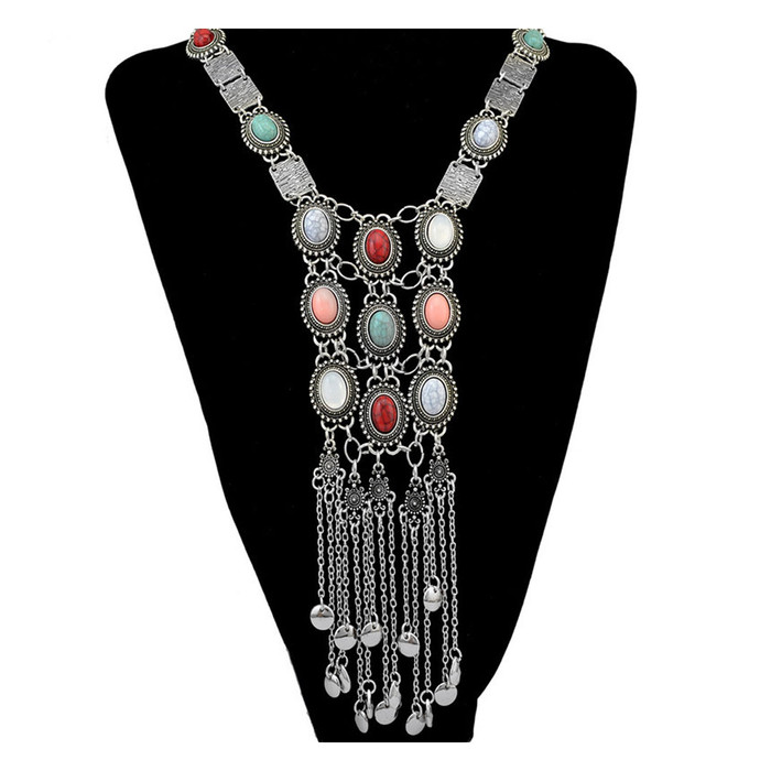 Long Antiqued Silver Linked Panel Y-Necklace with Multicolored Cabochons