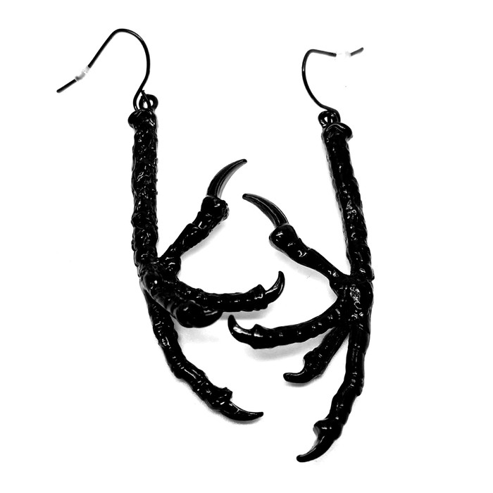 Black Bird Talon Drop Earrings