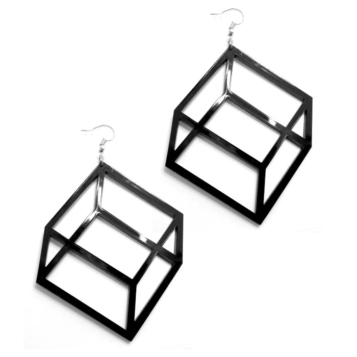 Large Lightweight Black Acrylic Geometric Flat Cube Drop Earrings