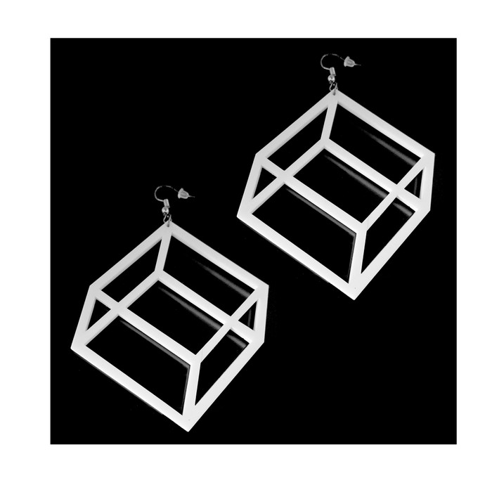 Large Lightweight White Acrylic Geometric Flat Cube Drop Earrings