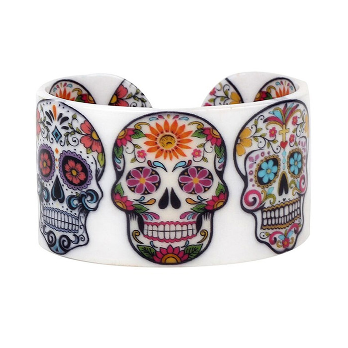 Acrylic Sugar Skull Cuff Bangle
