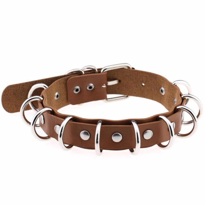Brown and Silver Multi-Ring Pleather Choker/Collar Necklace