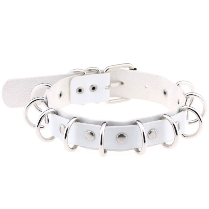 White and Silver Multi-Ring Pleather Choker/Collar Necklace