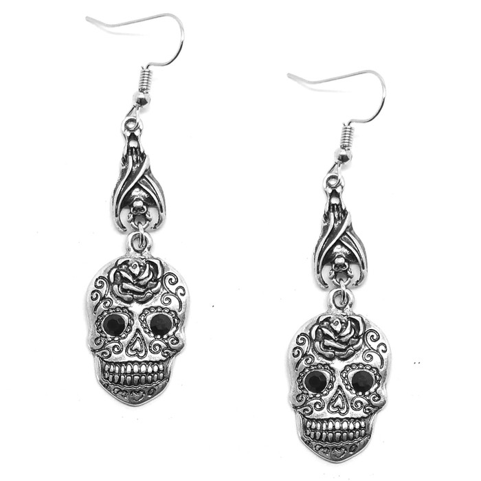 Antiqued Silver Sugar Skull Drop Earrings with Crystal Detail and Sleeping Bats