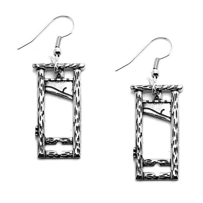 Antiqued Silver Guillotine Drop Earrings