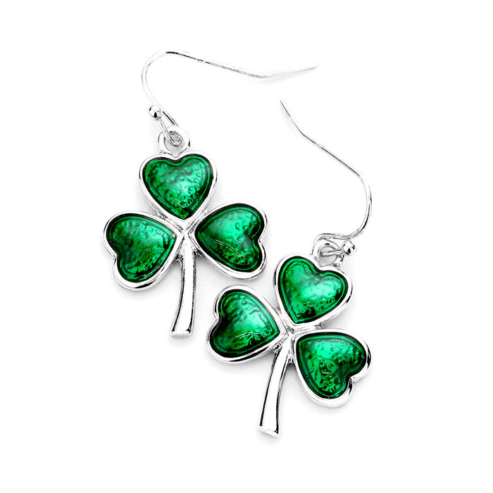 Silver Clover Drop Earrings with Green Enameled Leaves
