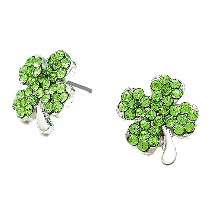 Silver Shamrock/Clover Post Earrings with Green Crystal Leaves