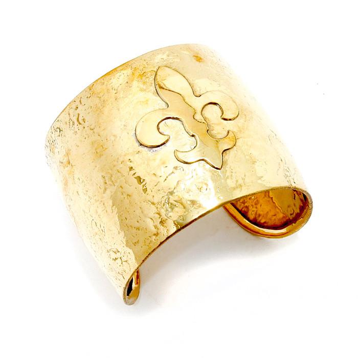 Golden Fleur-de-Lis Cuff Bracelet