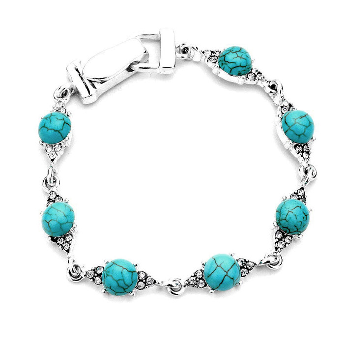 Bejeweled Silver and Turquoise Bracelet with Magnetic Clasp