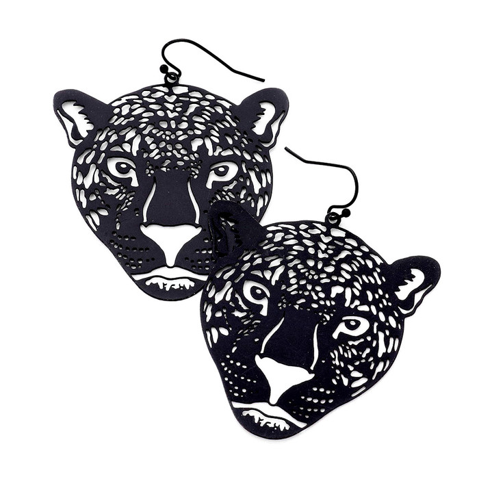 Feather-Light Jet Black Panther/Leopard Drop Earrings