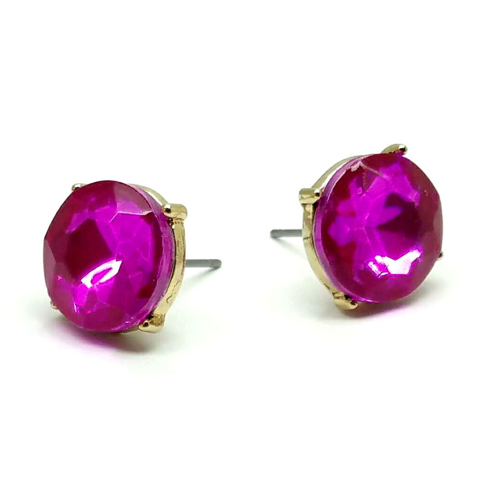 Fuchsia Pink Solitaire Crystal Post Earrings