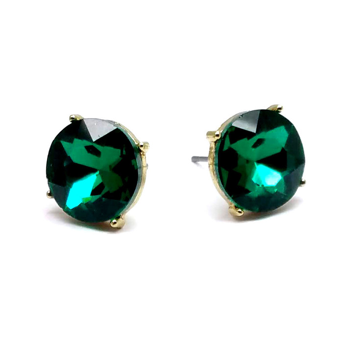 Emerald Green Solitaire Crystal Post Earrings