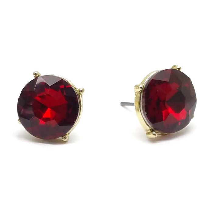 Vibrant Red Solitaire Crystal Post Earrings