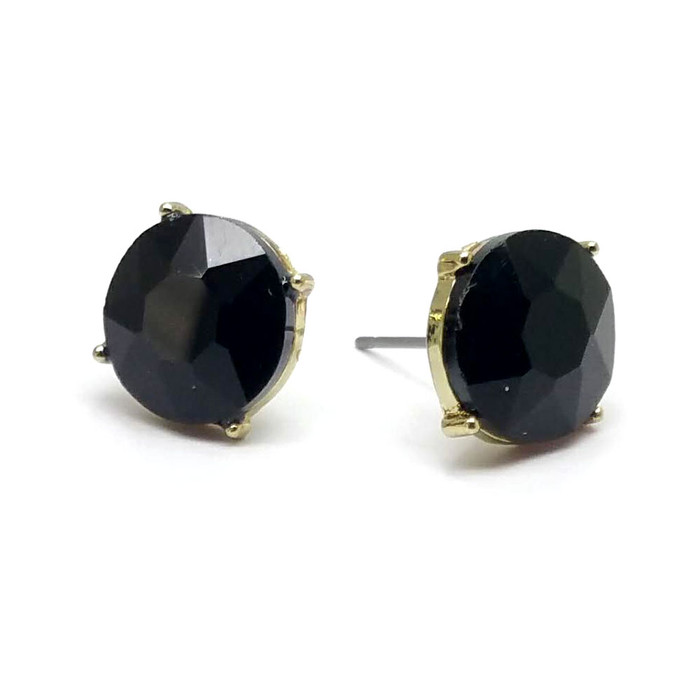 Jet Black Solitaire Crystal Post Earrings