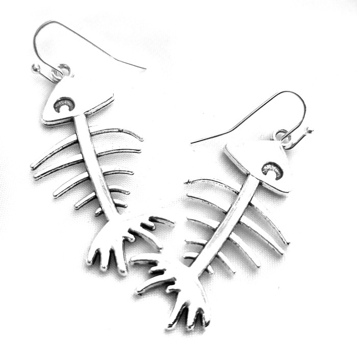 Silver Fishbone Drop Earrings