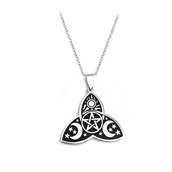 Etched Steel Triquetra Pendant Necklace: Moon Phases, Sun, and Pentacle