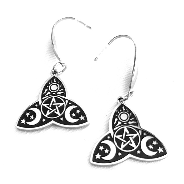 Etched Steel Triquetra Drop Earrings: Moon Phases, Sun, and Pentacle