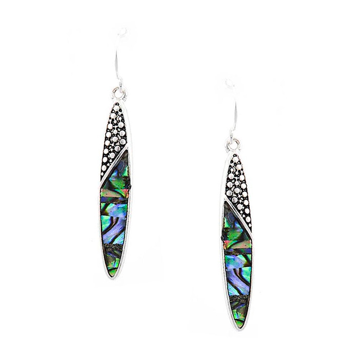 Antiqued Silver Sliver Drop Earrings with Black Filigree and Abalone Inlay
