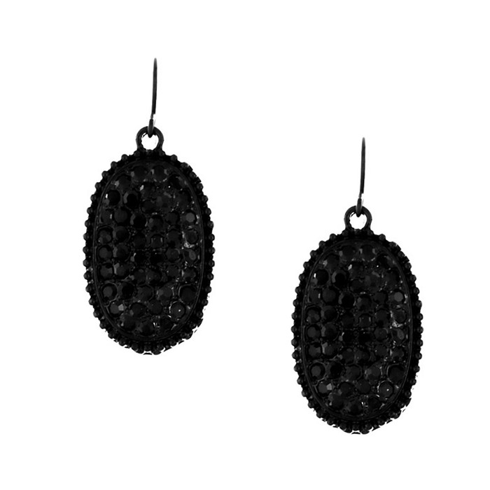Bejeweled Black-on-Black Oval Drop Earrings