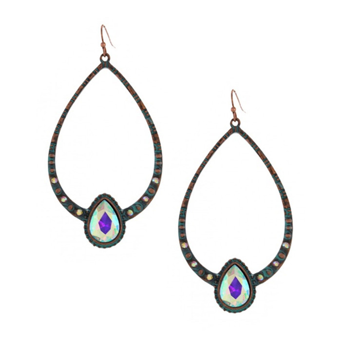 Large Patina Teardrop Earrings with Aurora Borealis Crystals