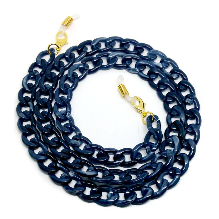 Grannycore Acrylic Glasses Chain/Holder [Retro, Chic] Navy Swirl