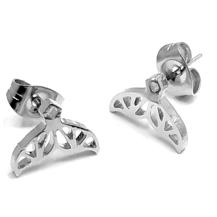Small Silver Whale Tail Outline Post Earrings