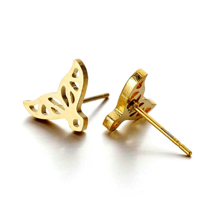 Small Golden Whale Tail Outline Post Earrings