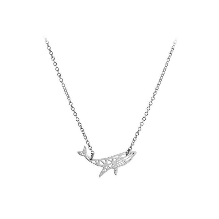Silver Steel Whale Outline Pendant Necklace