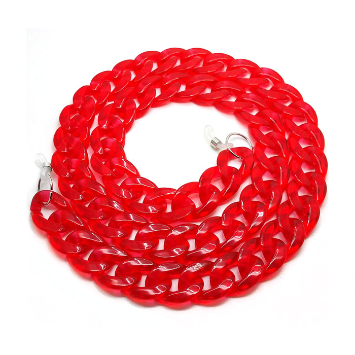 Grannycore Chunky Acrylic Glasses Chain/Holder - Clear Cherry Red