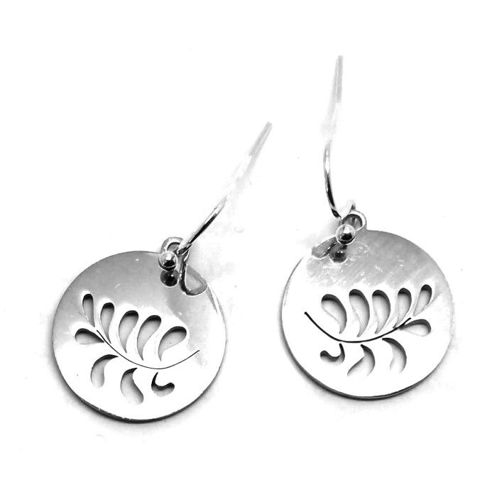 Stainless Steel Disc Drop Earrings with Leaf/Petal Cutouts
