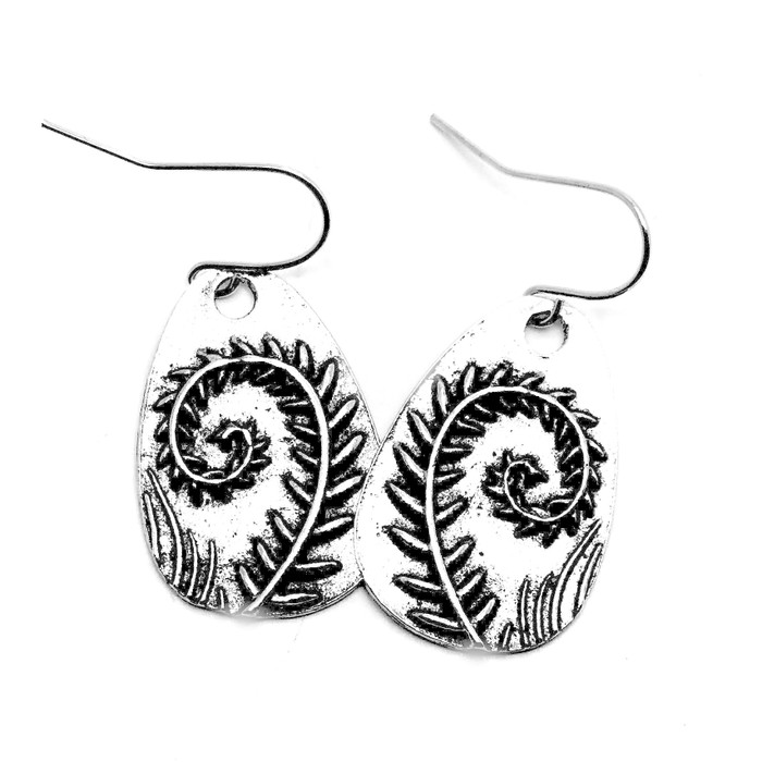 Antiqued Silver Teardrop Earrings with Curled Fern Intaglio