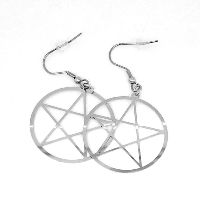 Perfect Stainless Steel Pentacle Drop Earrings