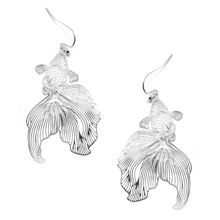 Feather-Light Silver Koi/Goldfish Drop Earrings
