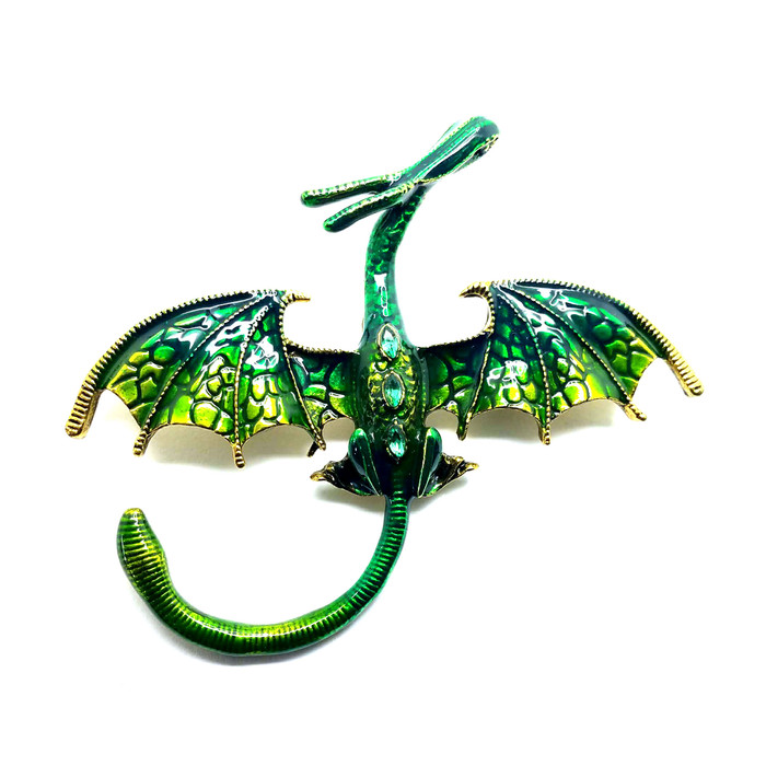 Gold and Green Dragon Pin with Crystal Detail
