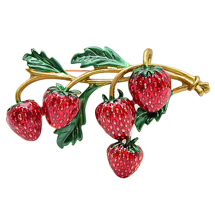 Enameled Strawberry Bunch Pin