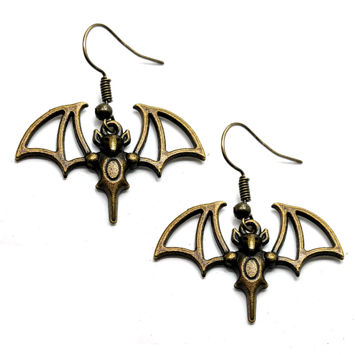 Antiqued Golden Bat Drop Earrings