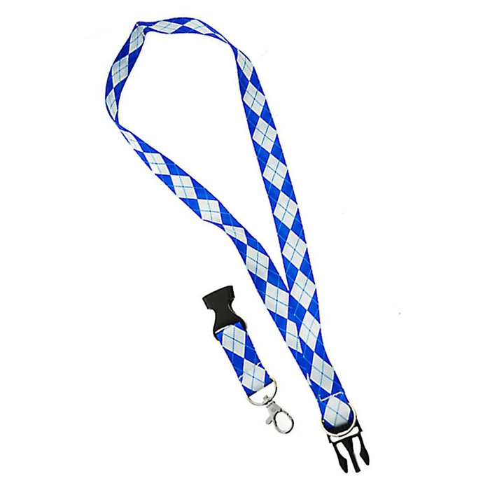 Blue and White Argyle Fabric Lanyard Necklace with 2 ID/Badge/Card Holders