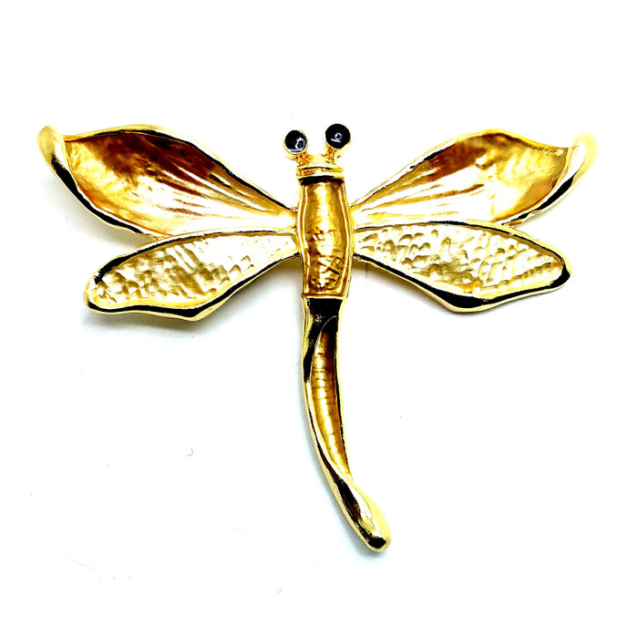Golden Enameled Dragonfly Magnetic Pin