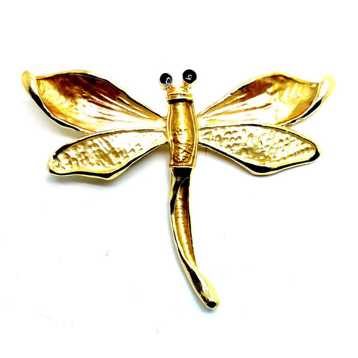 Golden Enameled Dragonfly Magnetic Pin