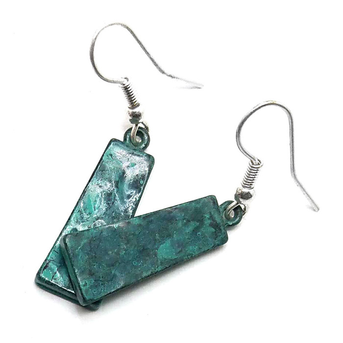 Patina Trapezoid Drop Earrings
